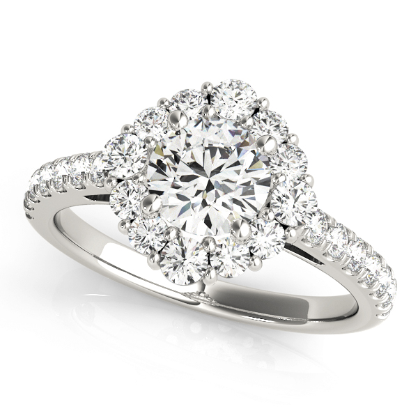 Cathedral Floral Halo Diamond Engagement Ring