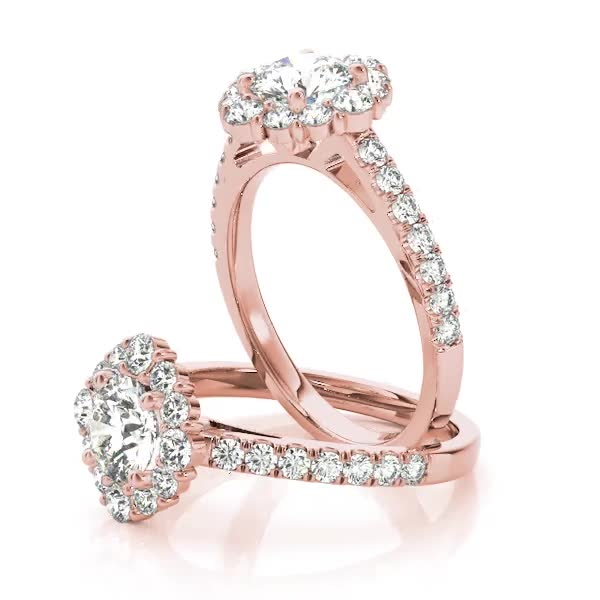 Cathedral Floral Halo Diamond Engagement Ring in Rose Gold
