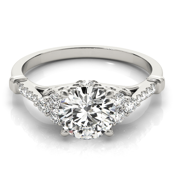Cluster Petite Diamond Engagement Ring with Filigree and Surprise Diamond