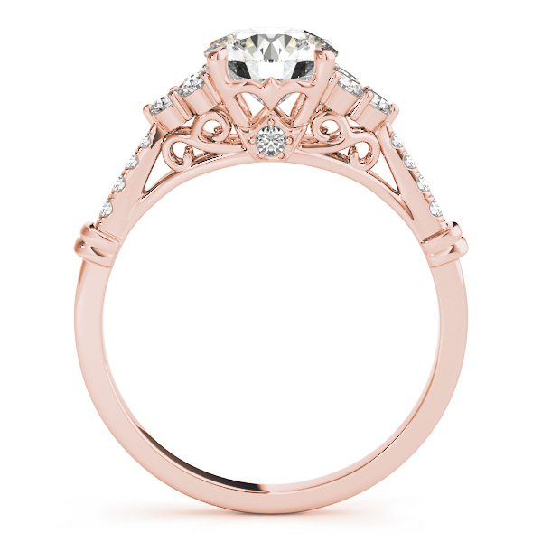 Cluster Petite Diamond Engagement Ring with Filigree and Surprise Diamond in Rose Gold