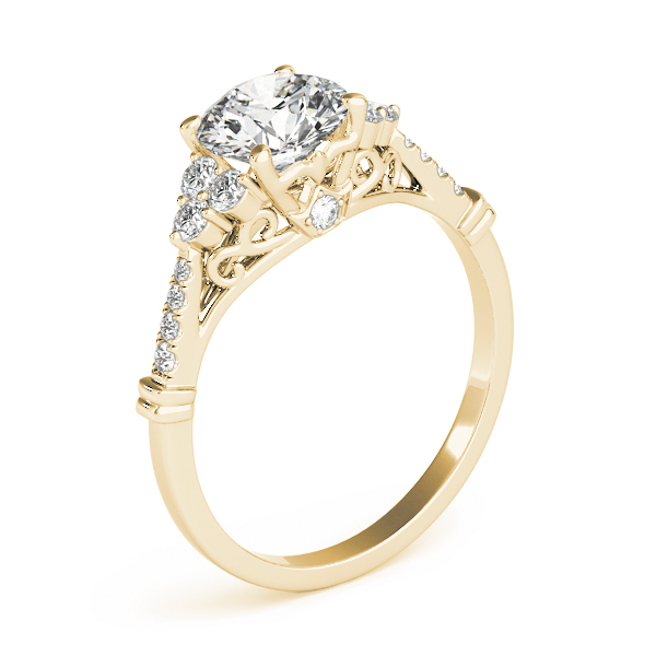 Cluster Petite Diamond Engagement Ring with Filigree and Surprise Diamond in Yellow Gold