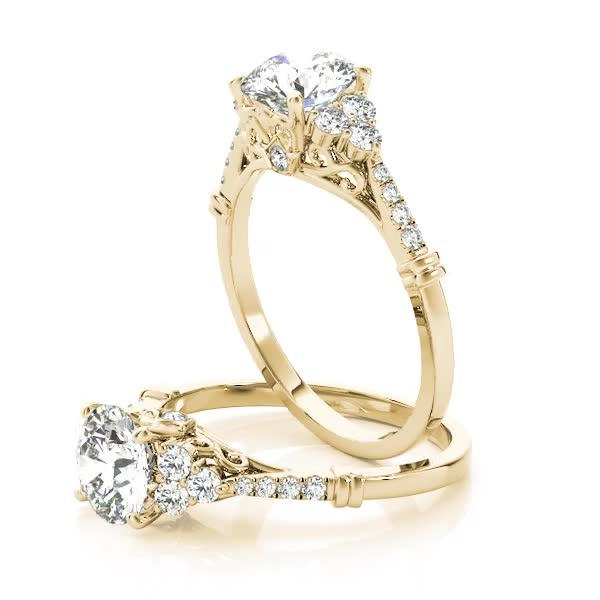 Cluster Petite Diamond Engagement Ring with Filigree and Surprise Diamond Yellow Gold
