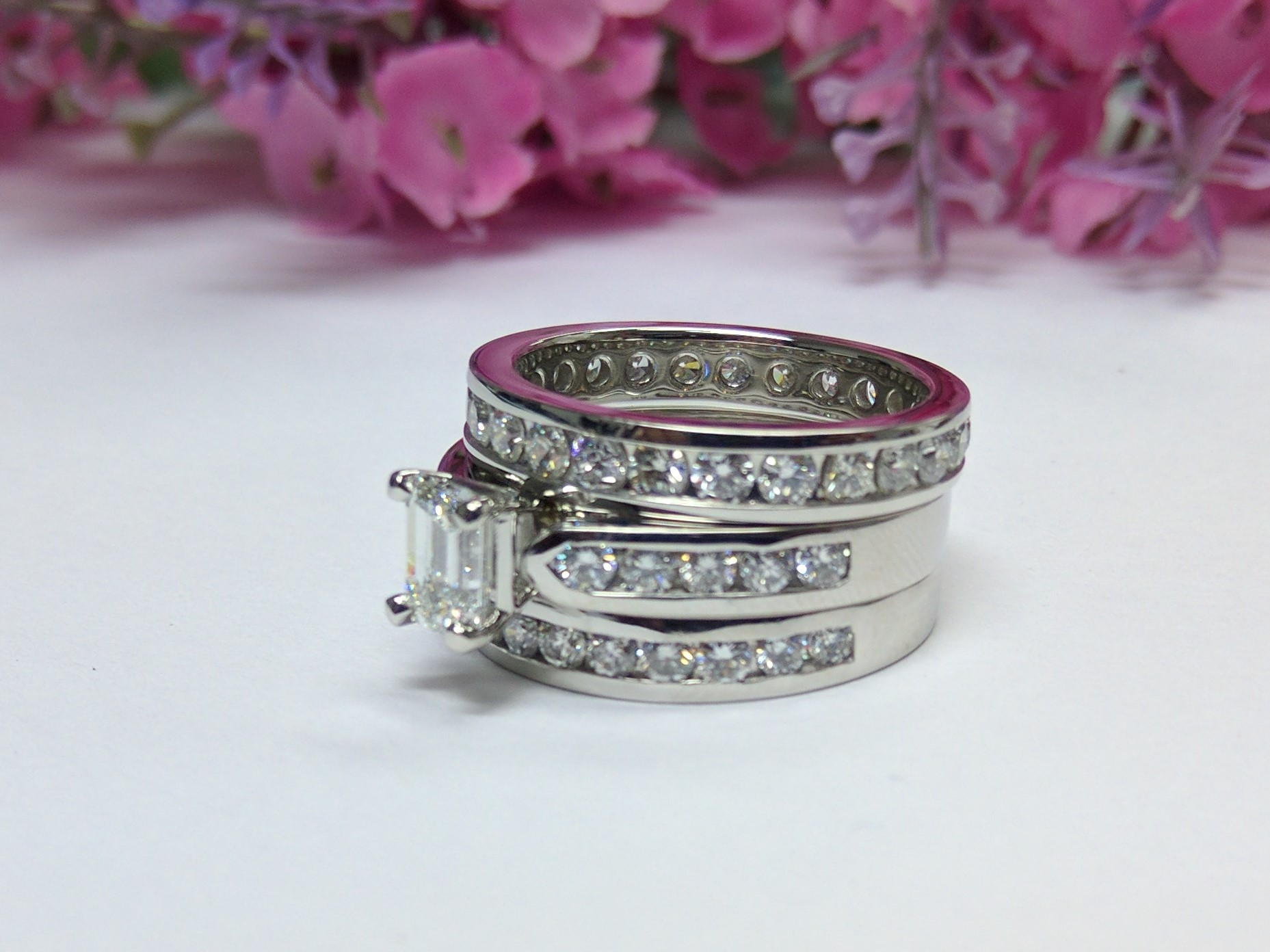 Cathedral Diamond Bridal Set & Eternity Anniversary Band