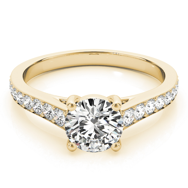 Cathedral Diamond Journey Engagement Ring in Yellow Gold