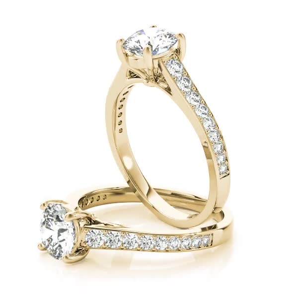 Cathedral Diamond Journey Engagement Ring Yellow Gold