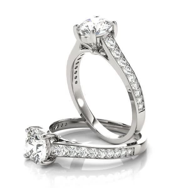 Cathedral Diamond Journey Engagement Ring