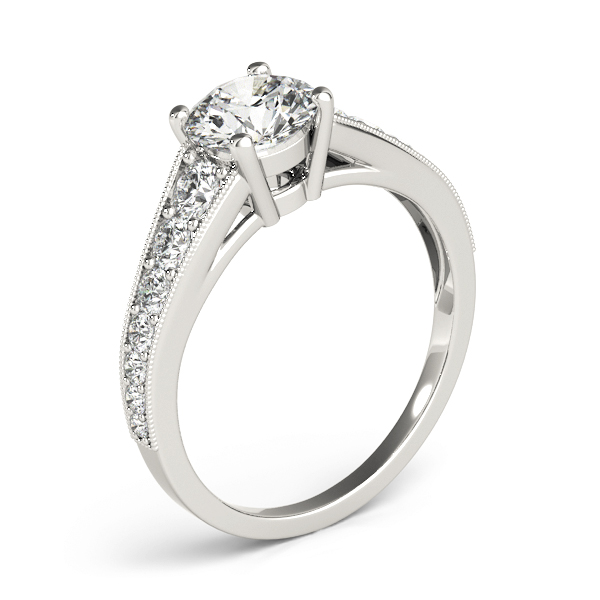Journey Diamond Engagement Ring with Milligrain Edges
