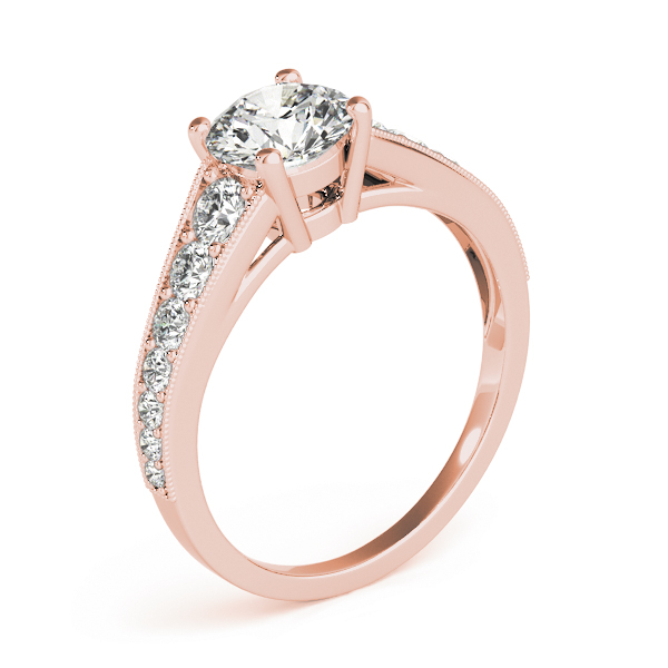 Journey Diamond Engagement Ring with Milligrain Edges in Rose Gold
