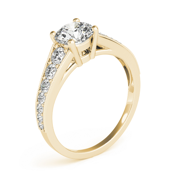 Journey Diamond Engagement Ring with Milligrain Edges in Yellow Gold
