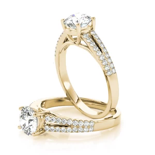 Trellis Diamond Engagement Ring with Split Band Yellow Gold