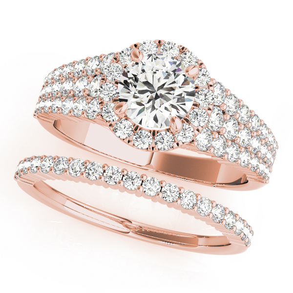 Multi-Row Journey Halo Diamond Engagement Ring & Wedding Band in Rose Gold