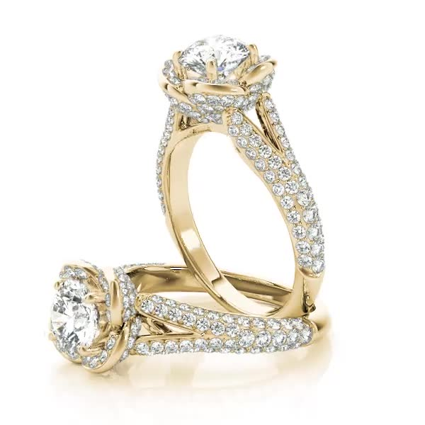 Rose Diamond Halo Engagement Ring with Split Etoil Band Yellow Gold