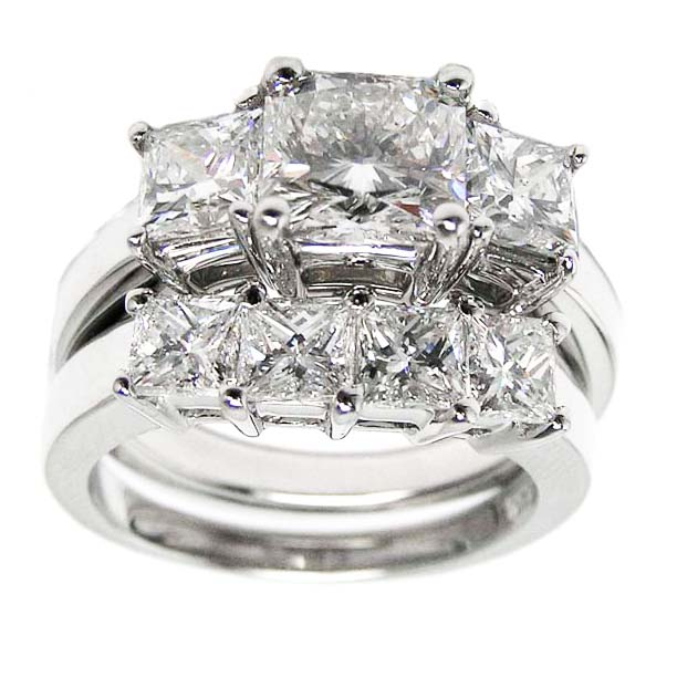 three diamond engagement ring wedding bands
