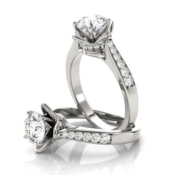 Cathedral Lotus Diamond Engagement Ring with Crown