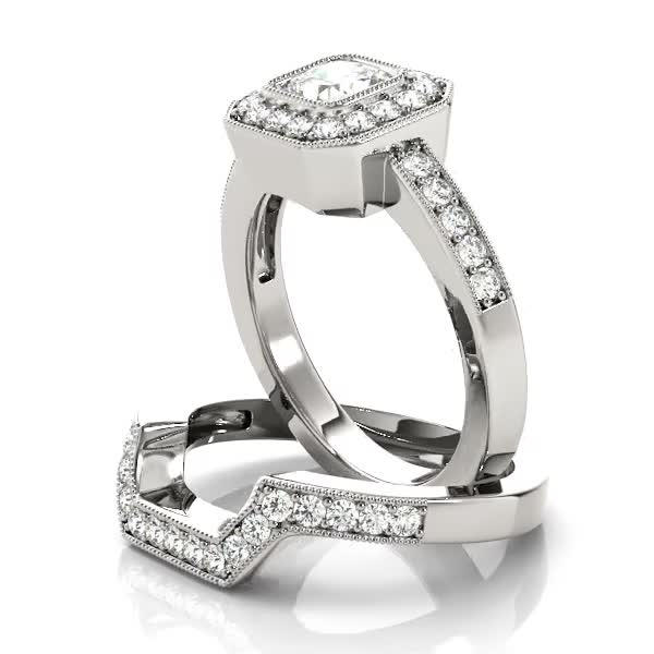 Square Diamond Engagement Ring & Wedding Band