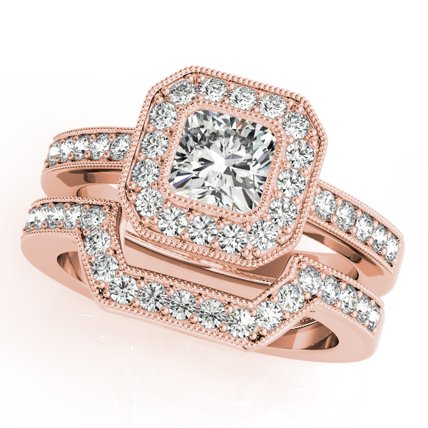 Square Diamond Engagement Ring & Wedding Band in Rose Gold