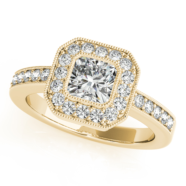 Square Diamond Engagement Ring & Wedding Band in Yellow Gold