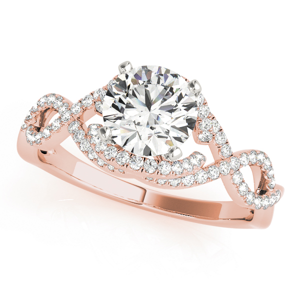Intertwined Infinity Halo Diamond Engagement Ring in Rose Gold