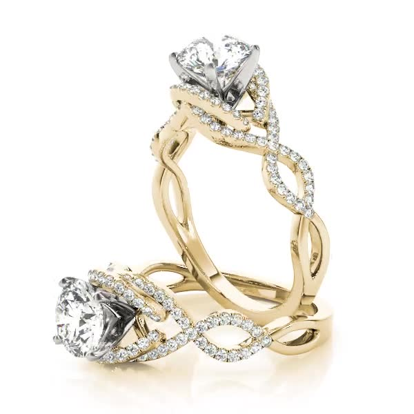Intertwined Infinity Halo Diamond Engagement Ring Yellow Gold