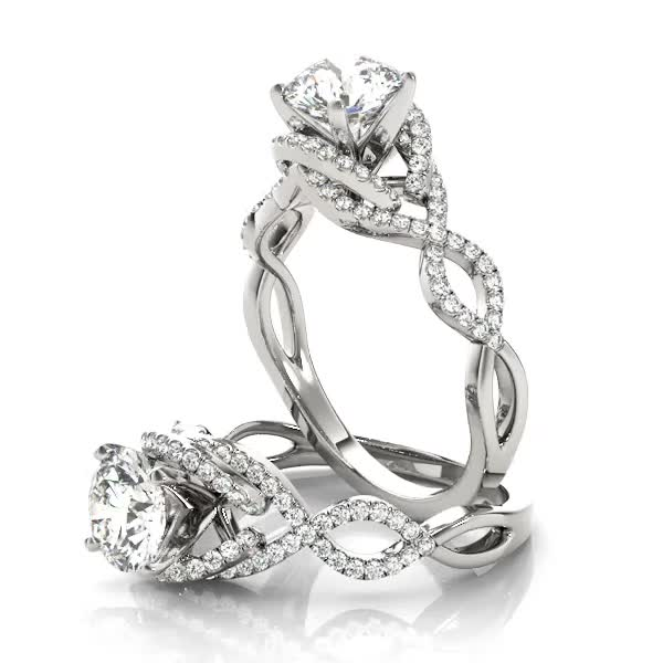 Intertwined Infinity Halo Diamond Engagement Ring