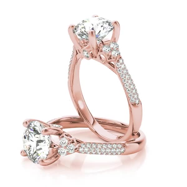 Diamond Cluster Engagement Ring with Etoil Band in Rose Gold