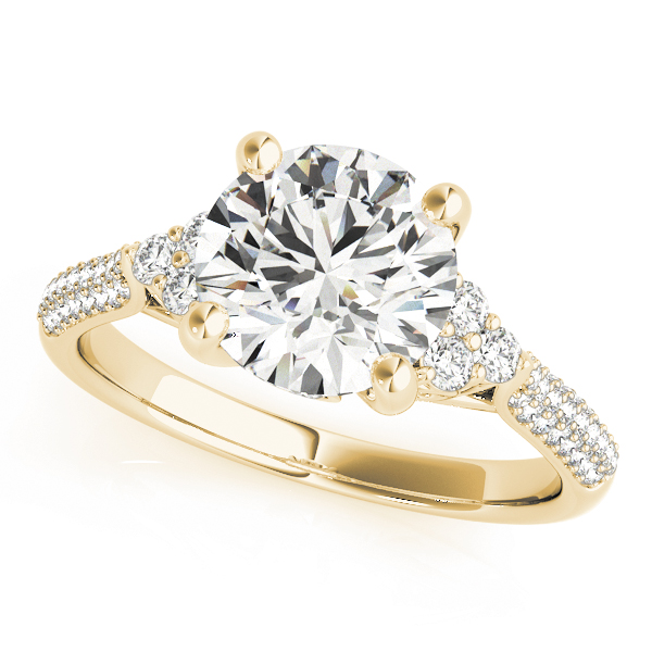 Diamond Cluster Engagement Ring with Etoil Band in Yellow Gold