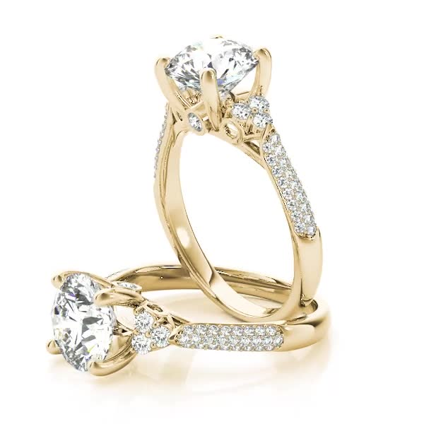 Diamond Cluster Engagement Ring with Etoil Band Yellow Gold