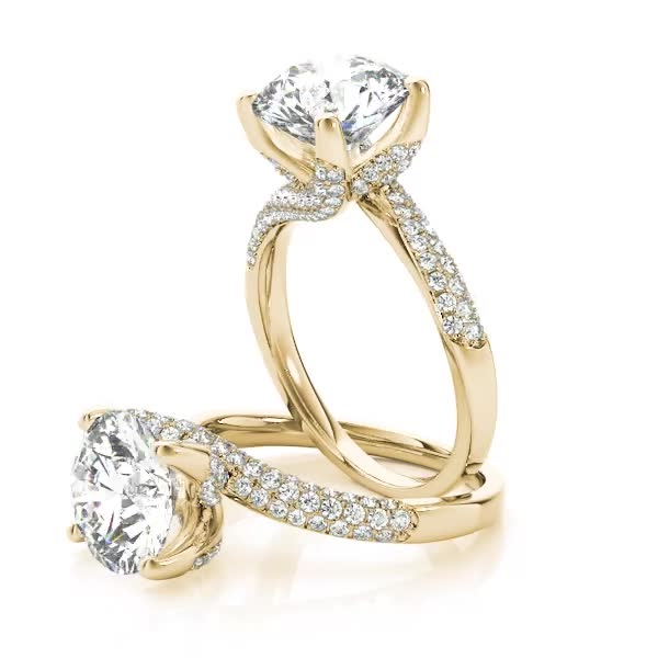 Swirl Etoil Diamond Engagement Ring Yellow Gold