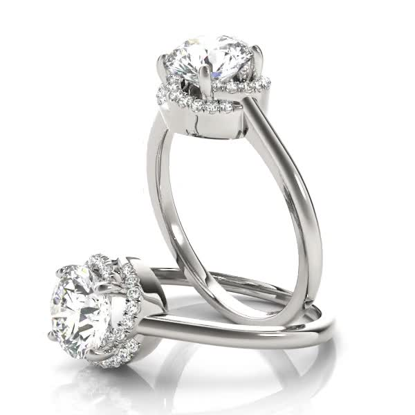 Rose Halo Petite Diamond Engagement Ring