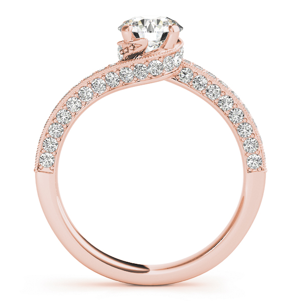 Diamond Swirl Vintage Engagement Ring in Rose Gold
