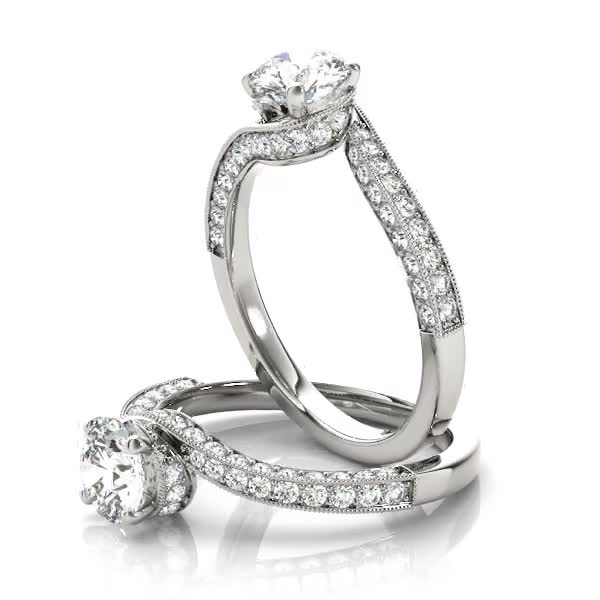 Diamond Swirl Vintage Engagement Ring