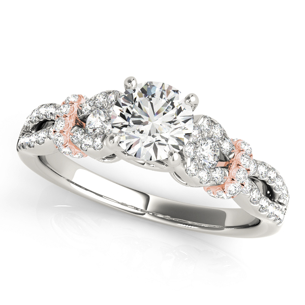 Petite Diamond Knot Engagement Ring & Wedding Band with Split Band in Two-Tone