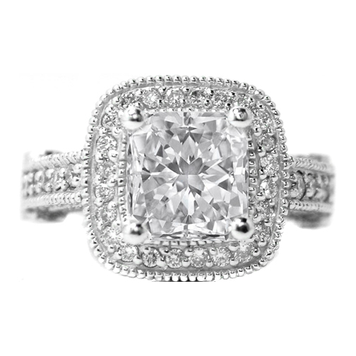Radiant Diamond Legacy Style Engagement Ring 0.96 tcw. In 14K White Gold