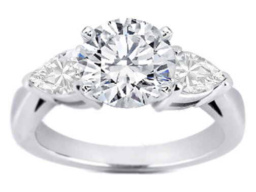 Round Diamond Engagement Ring Pear-Shape side stone 0.30 tcw. In 14K White Gold