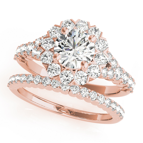 Diamond Halo Cathedral Bridal Set with Split-Band in Rose Gold