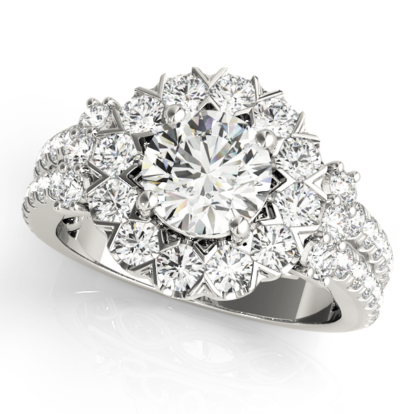 Large Halo Diamond Split Band Engagement Ring