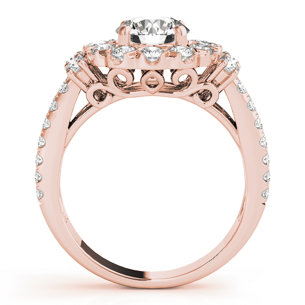 Large Halo Diamond Split Band Engagement Ring & Wedding Band in Rose Gold