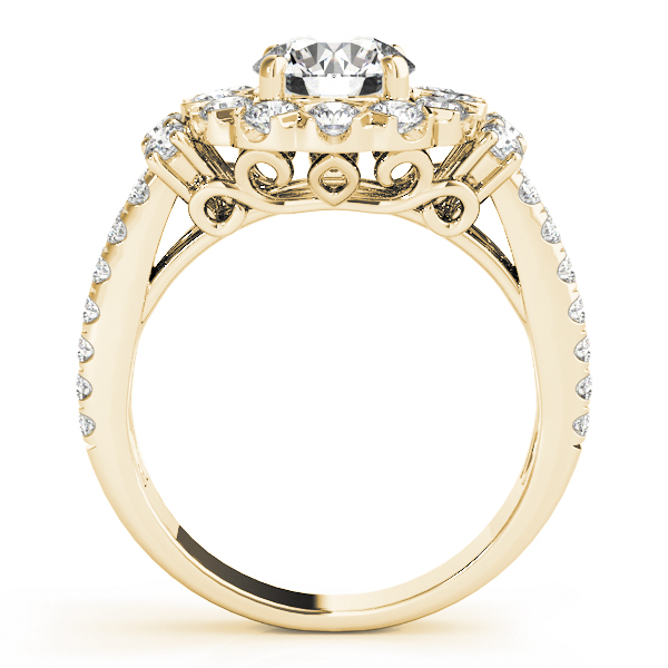 Large Halo Diamond Split Band Engagement Ring in Yellow Gold
