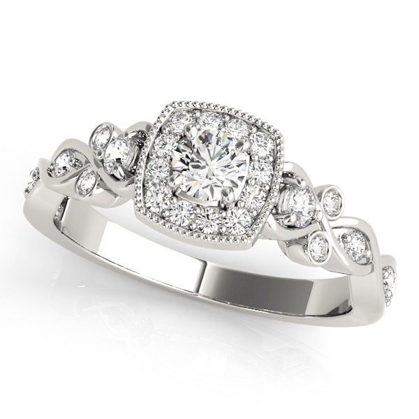 Square Halo Intertwined Infinity  Diamond Engagement Ring
