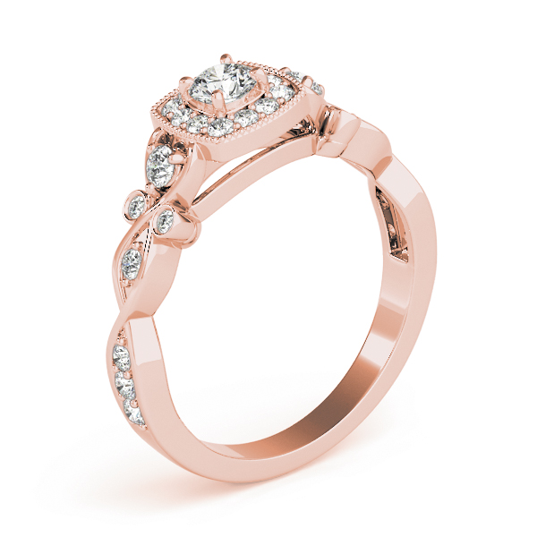 Square Halo Intertwined Infinity  Diamond Engagement Ring in Rose Gold