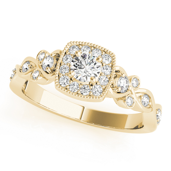 Engagement Ring Square Halo Intertwined Infinity Diamond In Yellow Gold ES1805YG