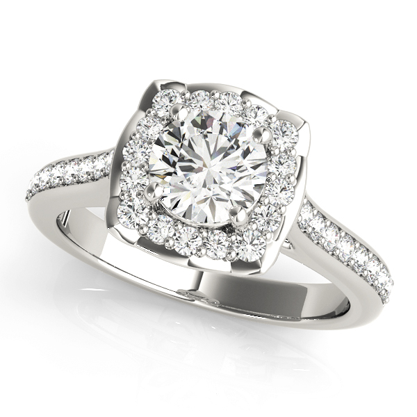 Floral Halo Diamond Cathedral Engagement Ring