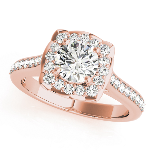 Floral Halo Diamond Cathedral Engagement Ring in Rose Gold