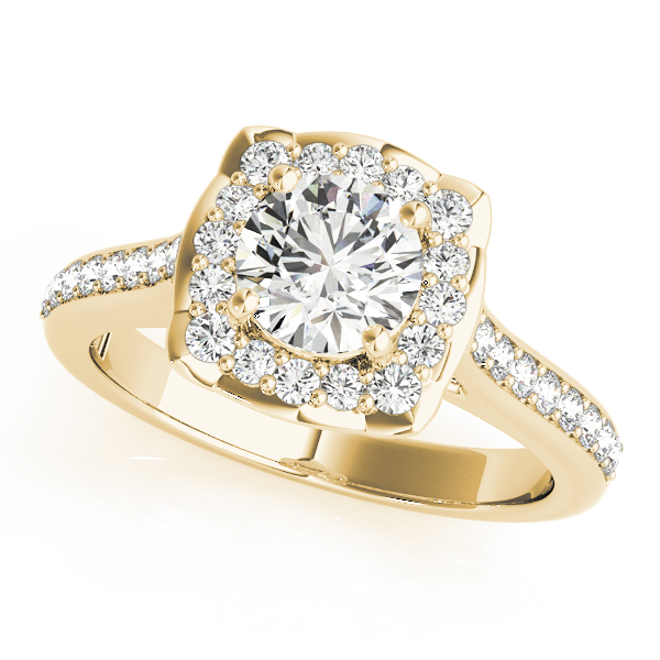 Floral Halo Diamond Cathedral Engagement Ring in Yellow Gold