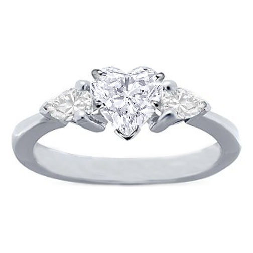 Heart Shape Diamond Engagement Ring Pear shape Diamonds sides