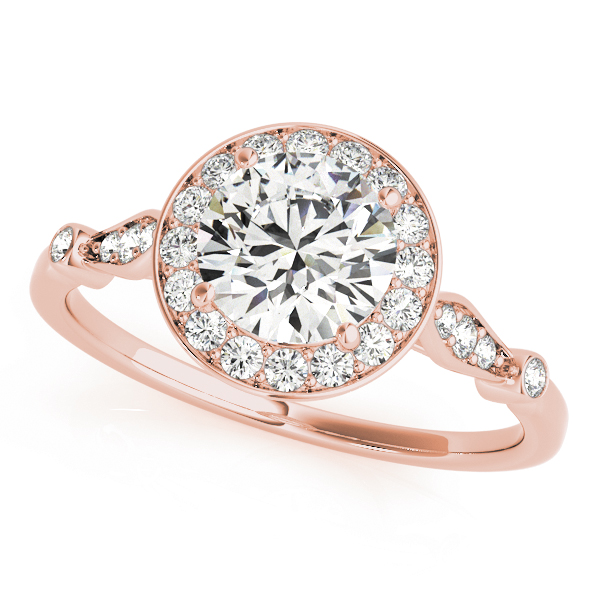 Vintage Halo Diamond Bridal Set with Filigree in Rose Gold
