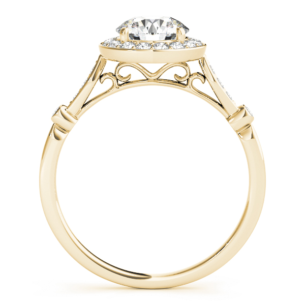 Vintage Halo Diamond Engagement Ring with Filigree in Yellow Gold
