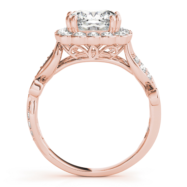 Square Floral Vine Diamond Halo Bridal Set in Rose Gold