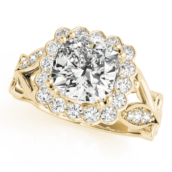 Square Floral Vine Diamond Halo Engagement Ring Yellow Gold