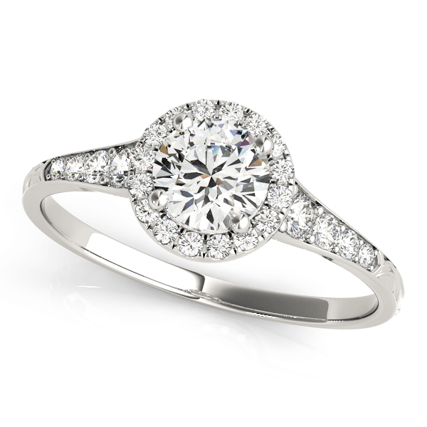 Petite Diamond Halo Engagement Ring with Engraved Band